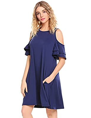 Showyoo Women's Cold Shoulder Ruffle Sleeves Tunic Top Casual Swing Shift Dress With Pockets