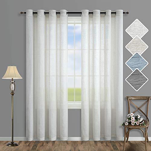 Off White Curtains 84 Inches Long for Bedroom 2 Panels Set Grommet Drapes Natural Linen Woven Textured Rustic Voile Semi Sheer Curtains for Living Room Coastal Beach Farmhouse 52x84 Inch Length Ivory