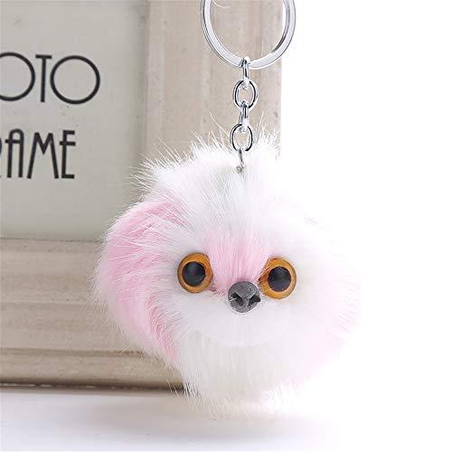 OSYARD Schlüsselanhänger,Keychain,Cute Dog Keychain Frauen Anhänger Pompoms Schlüsselring Keyring Schlüssel Ring Taschenanhänger Handtaschenanhänger Schlüsselbund