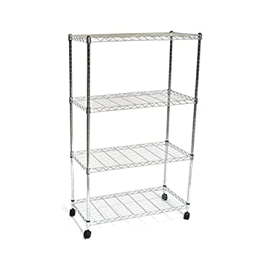 Seville Classics 4-Tier UltraZinc Steel Wire Shelving/w Wheels, 14  D x 30  W x 48  H