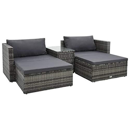 vidaXL Gartenmöbel 5-TLG. mit Auflagen Sitzgruppe Lounge Sofa Ottomane Hocker Gartensofa Ecksofa Gartenset Sitzgarnitur Poly Rattan Grau