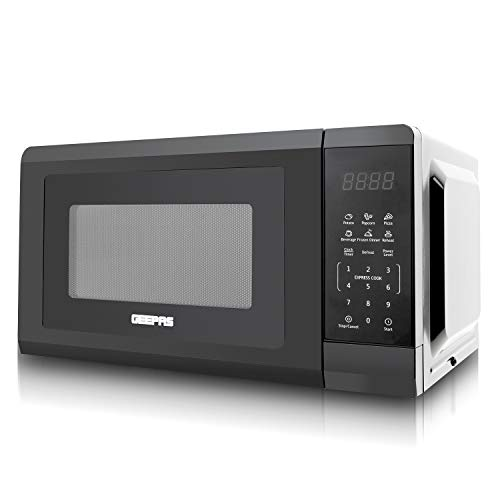 Geepas 700W 20L Microwave Oven with Digital Display - Auto Defrost, One-Touch Express Cook, 6 Pre-Programmed Auto Cook Settings, and Easy Clean – 11 Power Levels, Digital Timer – 2 Year Warranty