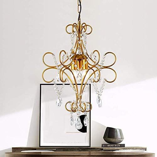 Plafondhanglamp Retro kristallen kroonluchter ijzer kunst ambacht antieke woonkamer slaapkamer nachtkastje restaurant bar veranda plafond lamp 42x42x62cm (kleur: goud)-goud
