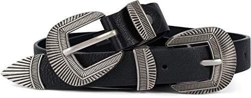 styleBREAKER Damen Vintage Gürtel mit doppelter verzierter Schnalle im Western Style, B-Low Belt, Taillengürtel, kürzbar 03010105, Größe:100cm, Farbe:Schwarz