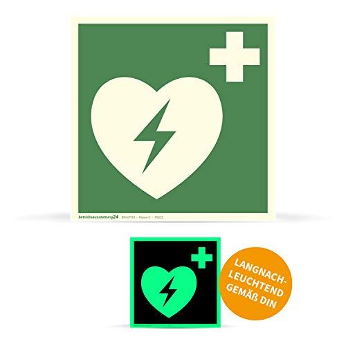 Betriebsausstattung24 1000046 Erste-Hilfe-Schild Rettungszeichen Automatisierter Externer Defibrillator (AED) ASR A1.3 ISO 7010 E010 Folie (klebend) langnachleuchtend DIN 67510 Klasse C, 15 x 15 cm