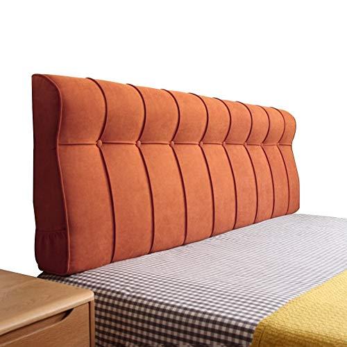 LIXIONG Coussin De Chevet Pas De Lit Épaissir Grand Dossier Style Européen Design Ergonomique, 8 Tailles 4 Couleurs (Couleur : Orange, Taille : 180x18x60cm)