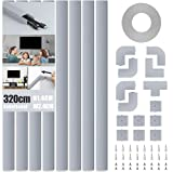 MUDEELA Juego de canaletas para cables, autoadhesivas, color blanco, para ocultar cables, para todos los cables de alimentación en el hogar y la oficina, 8 unidades x 40 cm x 2,4 cm x 1,4 cm, gris
