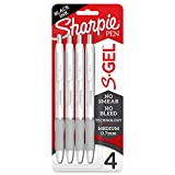 Sharpie S-Gel, Gel Pens, Medium Point (0.7mm), Pearl White Body, Black Gel Ink Pens, 4 Count