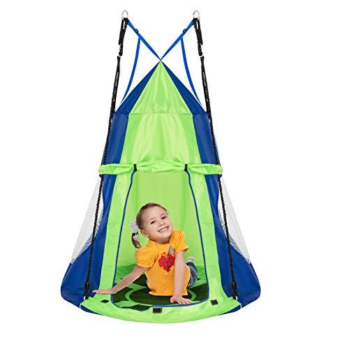 DREAMADE Nestschaukel mit Zelt, Hängezelt Höhenverstellbar Gartenschaukel, Schaukelnest Hängenest mit Tür Fenster, Tellerschaukel max.Tragfähigkeit 150kg, für Baum Garten Kinderzimmer (grün&blau)
