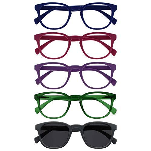 Opulize Pop Pack 5 Gafas De Lectura Con Lectores De Sol Retro Azul Rosa Púrpura Verde Gris Hombres Mujeres RRRRS2-34567 +1,50