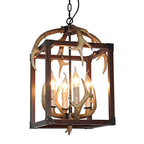 HXCD Antler Lámpara de Techo Estilo Vintage, lámpara Colgante de Resina con 6 portalámparas en Espiral de E14, Luces Decorativas de Interior para Sala de Estar, Bar, cafetería, Comedor