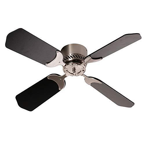 """Camper Comfort E17 36"""" 12 Volt Black Brush Nickel Ceiling Fan"""