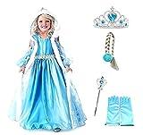 Costume Elsa Frozen Cappuccio Corona Bacchetta Guanti Treccia Bimba 100 2 3 anni Idea Regalo Natale Compleanno Festa