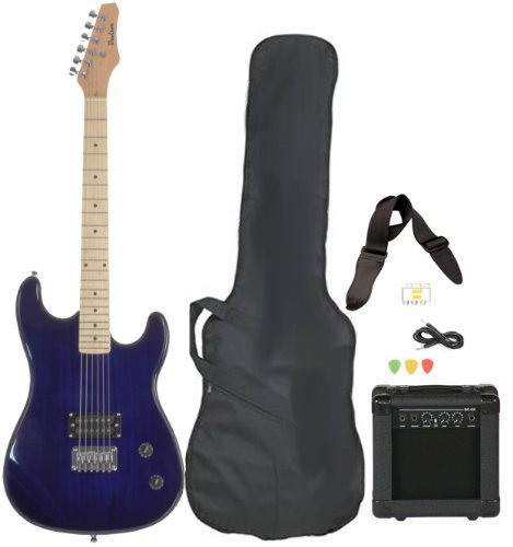 Davison Guitars Full Size Black Electric Guitar with Amp, Case and Accessories Pack Beginner Starter Package Blue Right Handed