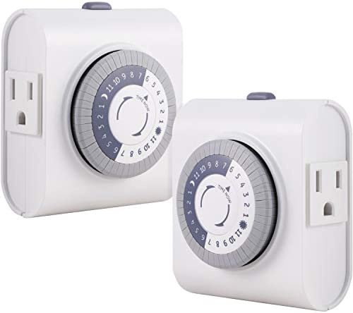 GE 24 Hour Heavy Duty Indoor Plug in Mechanical Timer 2 Pack 30 Minute Intervals Daily On Off product image
