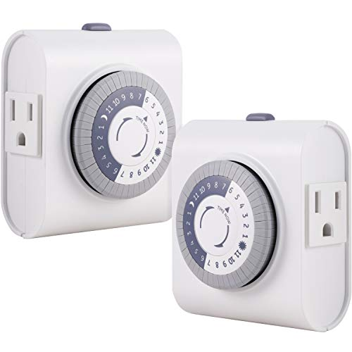 GE 24-Hour Heavy Duty Indoor Plug-in Mechanical Timer 2 Pack, 30 Minute Intervals, Daily On/Off Cycle, for Lamps, Seasonal Lighting, Holiday Decorations, 46211, Grounded 2-Outlet | Gray/White, 2 Count