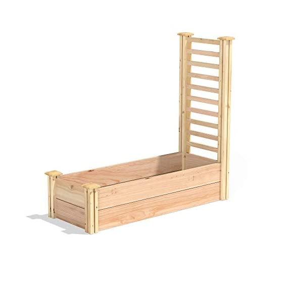 """Greenes fence premium cedar raised garden bed with trellis 1 premium quality: pre-sanded, untreated 3/4""""- thick cedar boards simply lock into corner posts without tools for a durable, open-bottom frame. With thicker boards than our value and original lines, premium beds are an exceptional choice for your garden. Built-in trellis: can be placed at either end for complete flexibility. Stack and expand: premium beds can be connected or stacked together to create the unique garden you've always wanted. Corner posts are routed on all four sides for easy assembly and expansion, so adding new garden space has never been simpler."""