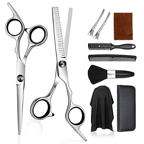 Haarschneideset, Modellieren Professionelle 9-teiliges Friseurscheren-Kit, mit Haarschneidescheren, Haarkamm, Clips, Haarschnitt friseurumhang, Haarschere Set geeignet für Männer, Frauen, Kinder