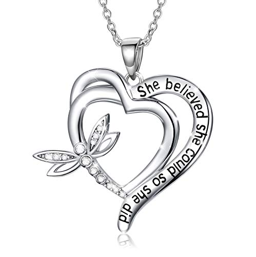 Sterling Silver Dragonfly Heart Pendant Necklace'She Believed She Could So She Did' Inspirational Necklace with Crystals from Swarovski, Birthday Jewellery Gifts for Women