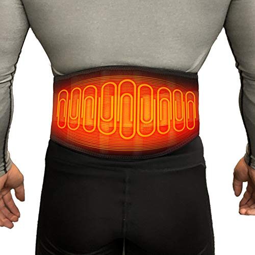 Lower Back Heating pad Cordless, Portable Heating pad Abdomen and Waist, Heated Belt for Stomach, Legs, Lumbar, Abdomen Pain Relief with Heated Back Brace Rechargeable Battery Packs 7.4V 3350mAh
