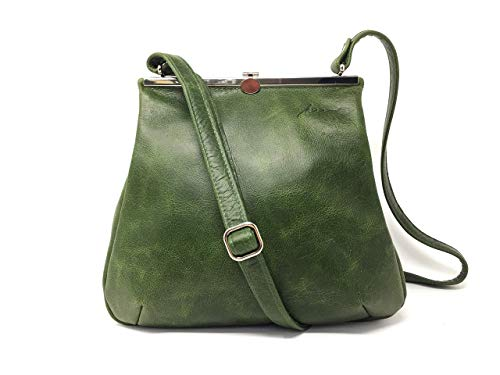 Ledertasche grün Cityshopper Schultertasche Rindsleder Schultergurt Tragetasche Damentasche Designer Tote Vintage Look Handtaschen Taschen Frauen