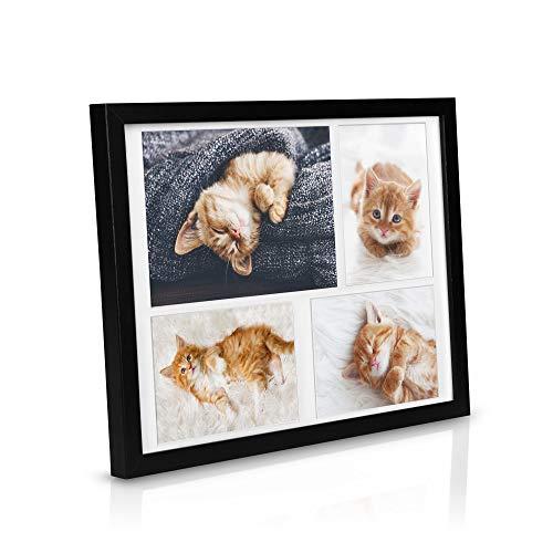 bomoe Bilderrahmen Galeria für 4 Fotos 15x21cm & 10x15cm Fotorahmen aus Holz, Kunststoffglas, Metall-Aufhängung & Passepartout Multirahmen für Bilder Collagen - Schwarz