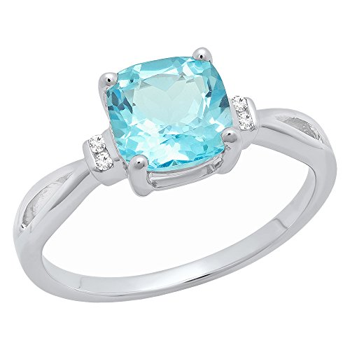 DazzlingRock Collection Plata de Ley 7Mm Corte Cojín Azul Topacio y Diamante Redondo Anillo de Compromiso para Novia Mujer