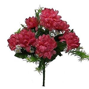 TPL 1 Bouquets of 7 Mini Mums Artificial Flower Chrysanthemums Bush Silk for Decor – 132DL #TN20D