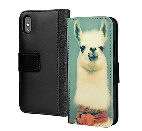 Divertido cuello largo Lama cabra animal pu cuero cartera en tarjeta teléfono caso cubierta