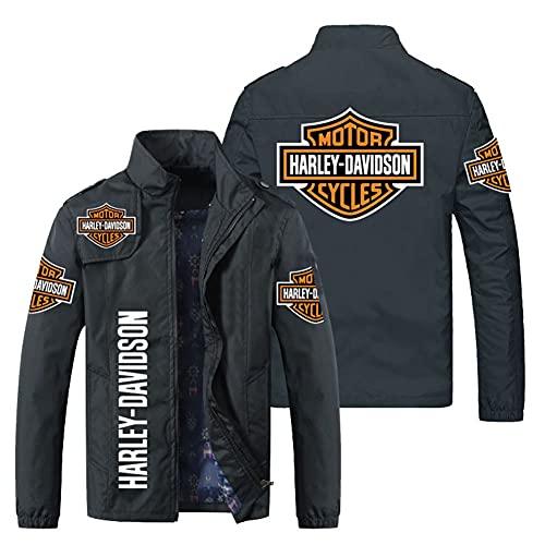 KJGLXD Felpa con Cappuccio da Uomo Maglione Cappotto Stampa Digitale 3D Harley Davidson Cerniera Maniche Lunghe Giacca, Adatto per la Primavera Autunno