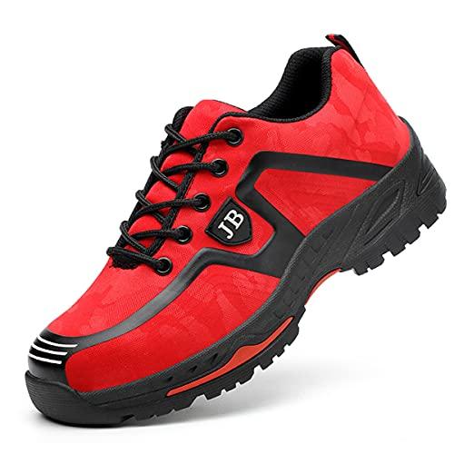 Zapatos de Seguridad para Hombre Mujeres Zapatillas de Puntera de Acero Ligeros Zapatos de Trabajo Industriales Transpirables Deportivos Zapatillas Deportivas Anti Smash Rojo 39 EU