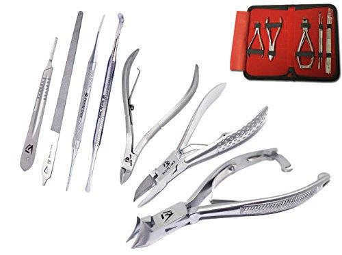 Profi Nagelknipser Cutter Nagelfeile Maniküre - Pediküre-Kit - für Podologie Instrumente - Zange für Nagelhaut - Set 6-teilig - Nagelschere + Nagelfeile - Aufbewahrungskiste