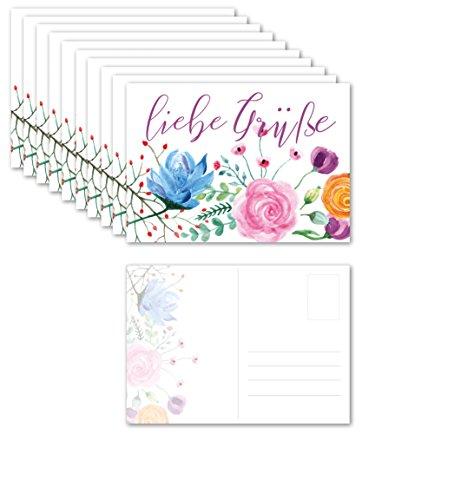 10 Vintage Blumen Aquarell Postkarten Set/Boho Vintage Design Art Retro Grußkarten/ 10 Stück Flower Karten im Set mit Text liebe Grüße/zum bemalen und beschreiben /