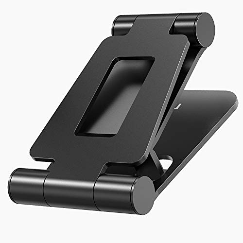 Tablet Stand, Dual Foldable Aluminum Desktop Adjustable Tablet Holder Compatible with iPad, Pro, Mini, Air, Pro 30 20, Other Smartphones and Tablets