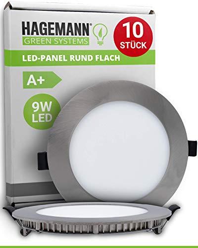 Preisvergleich Produktbild HAGEMANN® 10 x LED Panel rund 9 Watt 890lm Ø 135mm Bohrloch flach 230V LED Spots Deckenleuchte