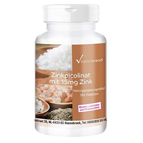 Zinc 15mg - Picolinato de Zinc – vegano – alta dosificación – para piel y pelo sano – 180 comprimidos