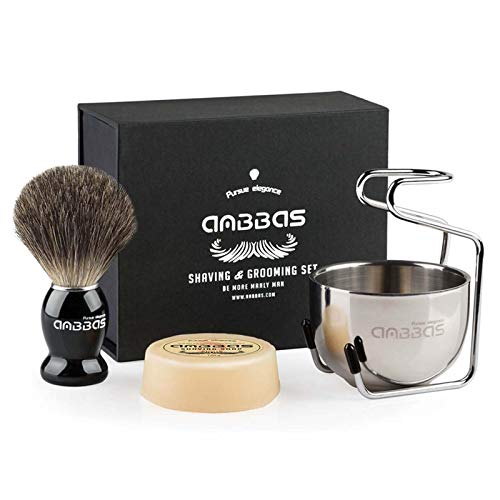 Shaving Brush Set,4in1 Anbbas Best Badger Bristles Shaving Brush Black Wood Handle and Goat Milk Soap 100g,Stainless Steel Shaving Stand and Soap Cup Kit Perfect for Men