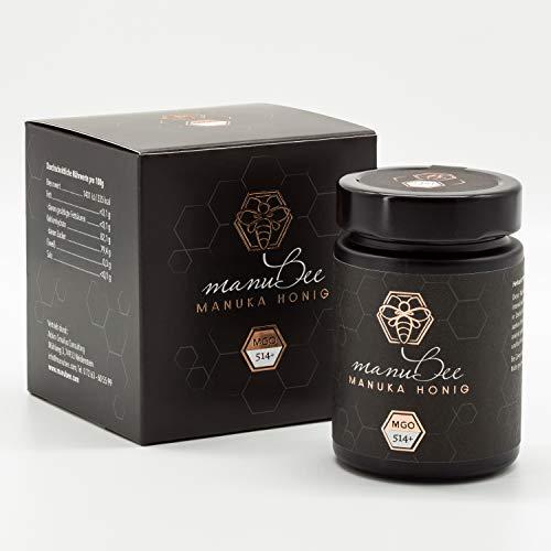 manubee Manuka Honig MGO 514+ 250g in lichtundurchlässiger Glasverpackung - mit Zertifikat über MGO Gehalt & Pollenanalyse