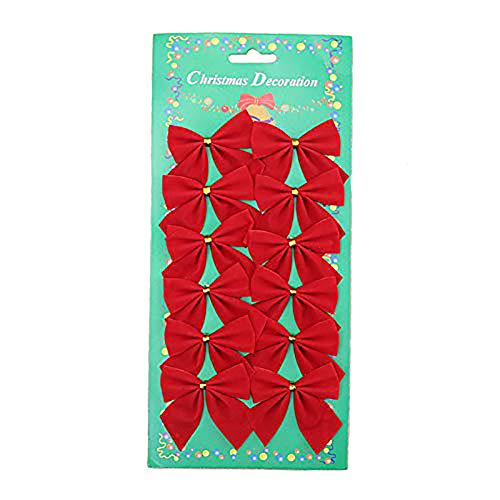 Green fox Christmas Bows Festival Bowknot Christmas Tree Decorations, Pack of 60 (Red)