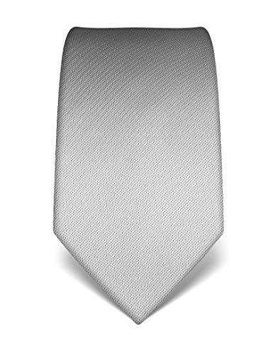 Vincenzo Boretti Herren Krawatte reine Seide strukturiert edel Männer-Design zum Hemd mit Anzug für Business Hochzeit 8 cm schmal/breit silber
