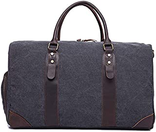 YOUNKING Canvas Duffle Bag Oversized Weekend Bags Travel Bags (Dark Grey)