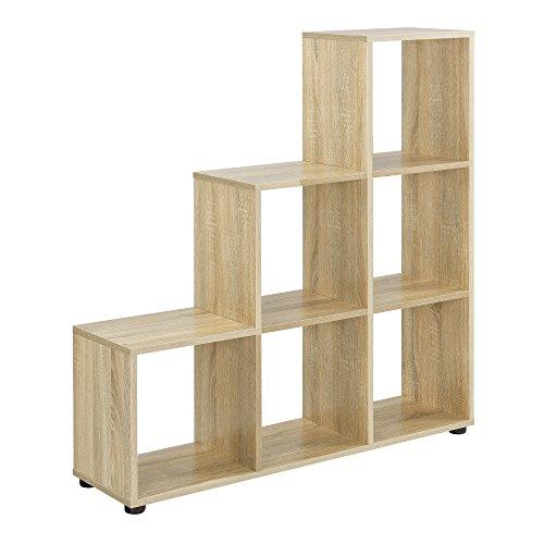[en.casa] Étagère escalier avec 6 Compartiments Bibliothéque Armoire séparateur MDF mélaminé 104 x 107 x 29cm Effet Bois