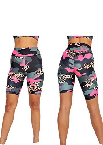 Fliegend Femme Legging Taille Haute Sport Pantalons Courts Camouflage Yoga Fitness Shorts de Course Push Up Collant Leggins de Entraînement Gym S