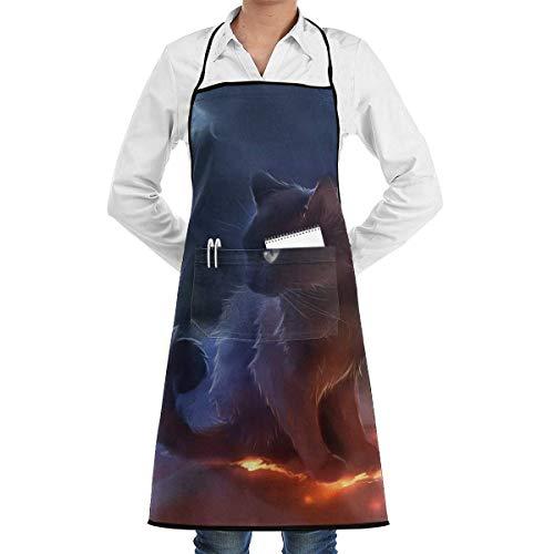 Delantal de gato guerrero de encaje Unisex para hombre para mujer Chef ajustable poliéster largo completo negro cocina delantales de cocina babero