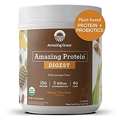 Amazing Grass DIGEST Vegan Protein Powder, Plant Based with Probiotics + Fiber to Manage Bloat, Mayan Chocolate, 15 Servings from AmazonUs/BMQS9