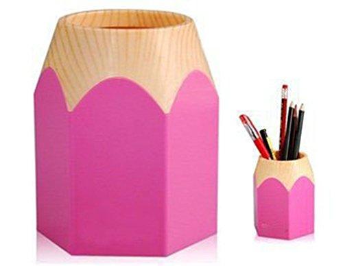 Yonger Creative Pencil Tip Design Pen Pencil Holder Makeup Brush Pot Cabinet Desk Pencil Cup Tidy Stationery Study Work Supplies Organizer Desk Container Box Pink