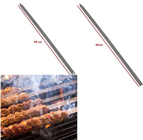 CasaXXl 10er Set Adana Kebap Spieße - Widerstandsfähige & robuste Grillspieße ideal für die türkische Spezialität (64 cm)