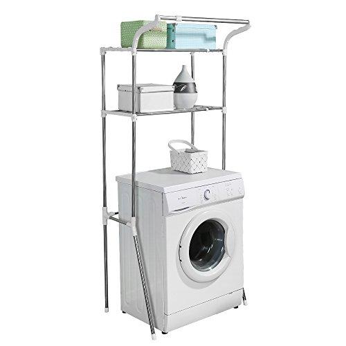 BAOYOUNI Toilettenregal Waschmaschinenregal Badezimmerregal Überbauregal Waschmaschine Stabiles Badregal aus Edelstahl Verstellbares Bad WC Regal Stand mit 2 Ablagen (62-101) x 49.5 x 173 cm Weiß