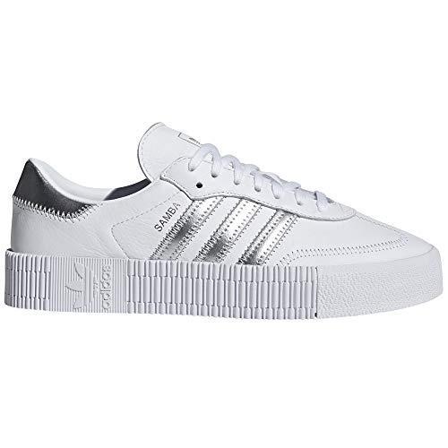 adidas Samba Blanca y Negra. Zapatillas para Mujer con Plataforma. Deportivas. Sneaker. (37 1/3 EU, White/Silver)