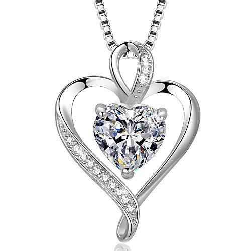 Herzkette 925 Silber Rosegold Damen Halskette - Herz Silber änhänger Kette Damen Geschenk für Frau Frauen MaMa Freundin mit Geschenk-Box 45cm Verstellbar Ketten(silber 1)